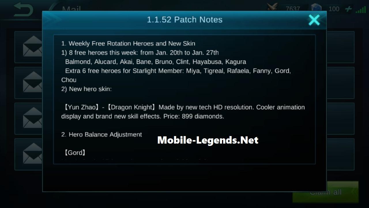 Patch Notes 1 1 52 2019 - Mobile Legends