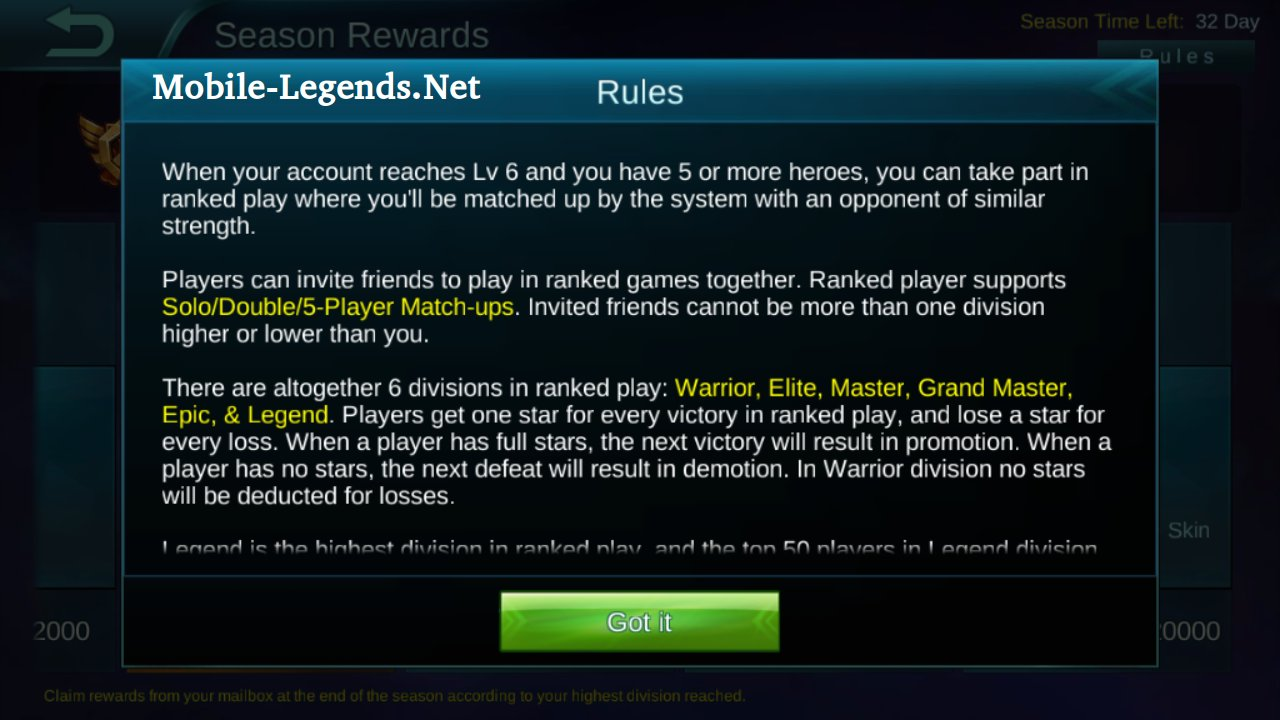 Ranked Rewards - Rules 2019 - Mobile Legends