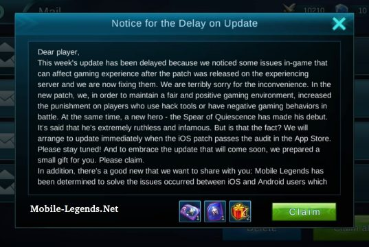 Mobile-Legends-Notice-for-the-Delay-on-Update