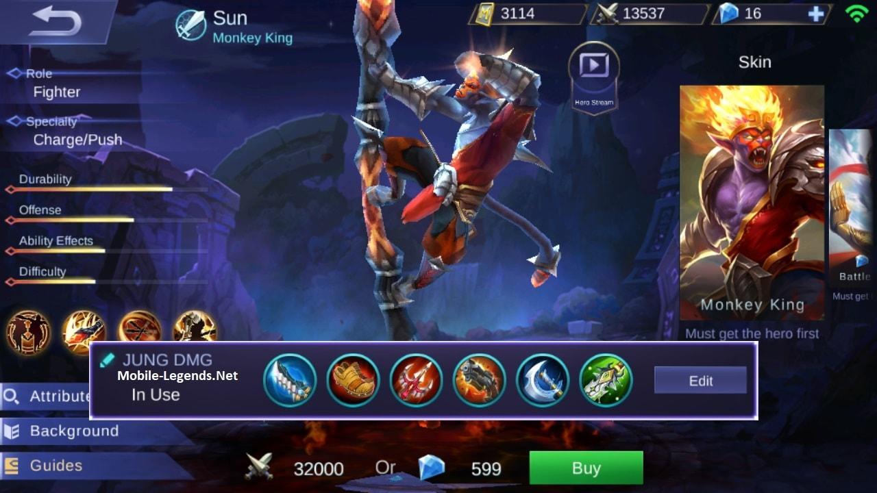 Sun Full Jungle Attack Damage Build 2019 - Mobile Legends