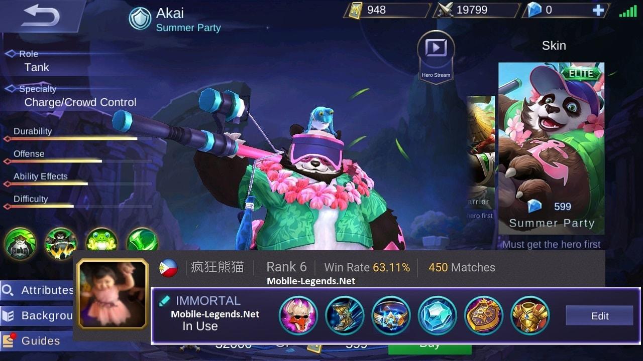 Akai New Immortal Tank Build 2019 - Mobile Legends