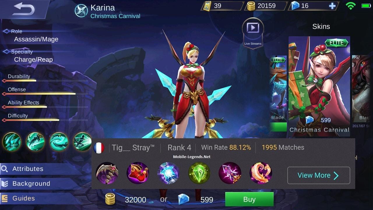 Karina Magic Damage Build 20   Mobile Legends