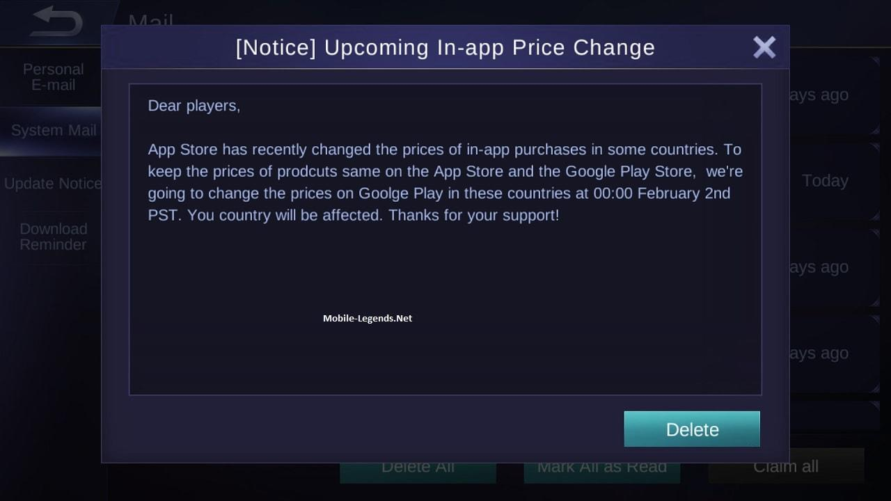 Upcoming IN-app Price Change(Notice) 2019 - Mobile Legends